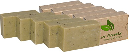 (5 Pack) Certified Organic Sheer Organix Rejuvenative Herbal Soap Handmade in the USA, 4 oz. / 113g