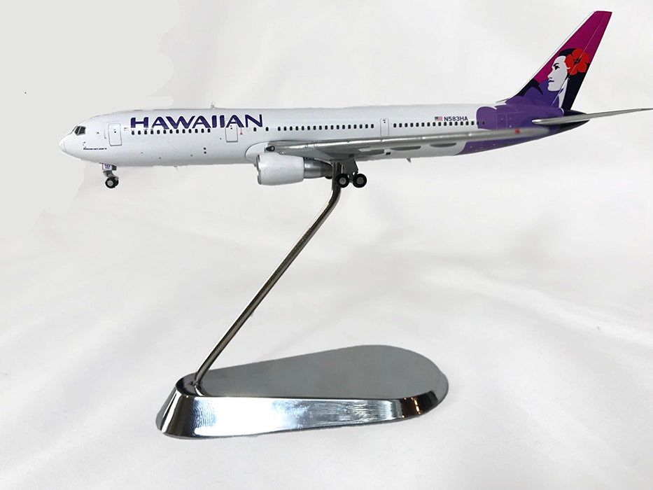 Hawaiian Airlines Boeing 767-300ER Diecast Airplane Model N583HA With Chrome Stand 1:400 Scale Part# GJHAL1562