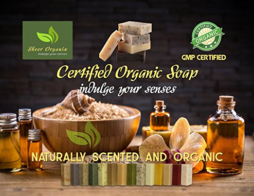 (6 Pack) Certified Organic Sheer Organix Rejuvenative Herbal Soap Handmade in the USA, 4 oz. / 113g, (Lavender, Shea & Honey, Oatmeal Spice, Peppermint Leaf, Lemongrass Tea, and Citrus Lavender)