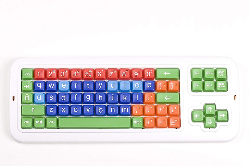 Clevy Large Print Mechanical and solid spill proof Color coded Keyboard - Lowercase and Colorful Keys -102686