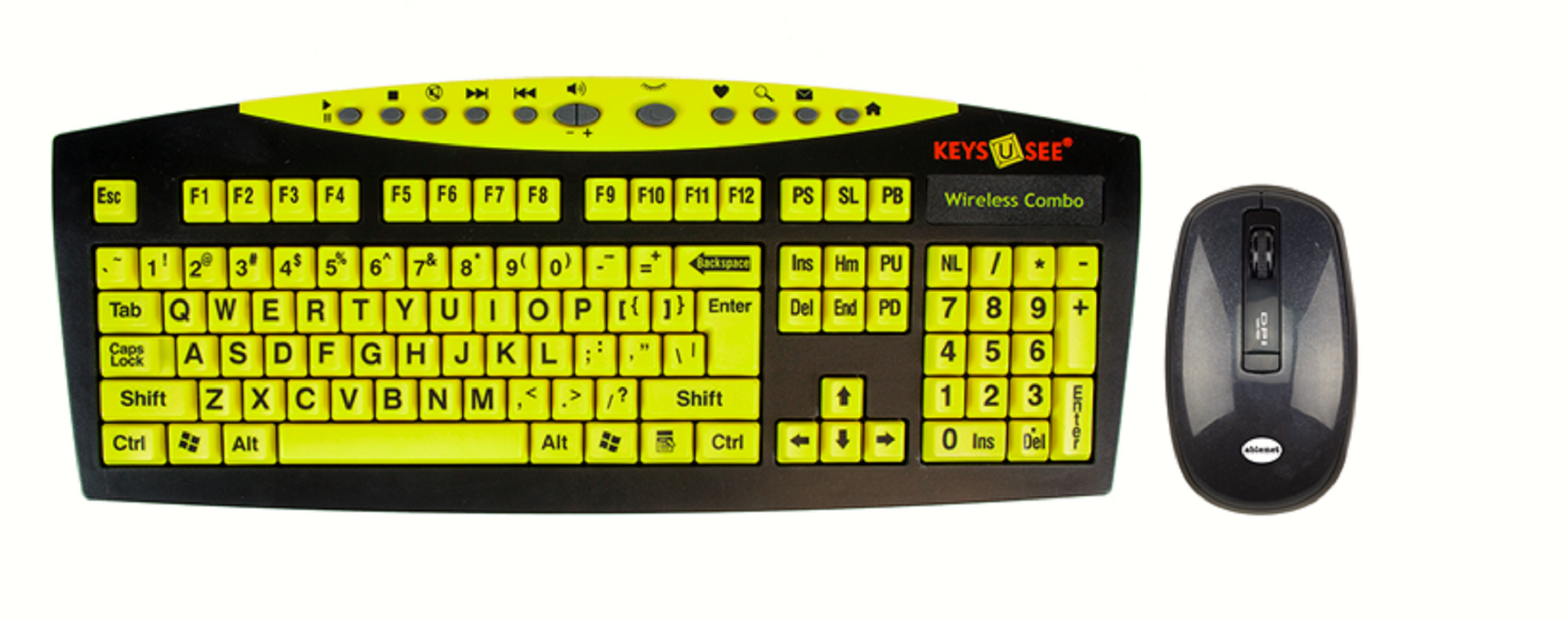 Keys-U-See Wireless Large Print Keyboard and Wireless Mouse Bundle Set (Keys U See)