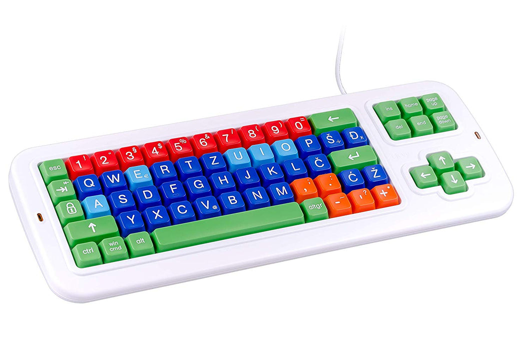 Clevy Large print Color Coded Croatian Mechanical Computer Keyboard with with Uppercase White Lettering- 102922