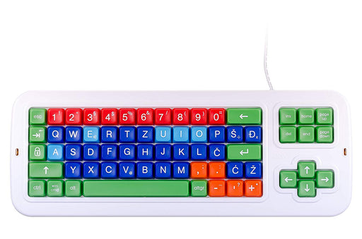 19a467d7c7d Clevy Large print Color Coded Croatian Mechanical Computer Keyboard with  with Uppercase White Lettering- 102922