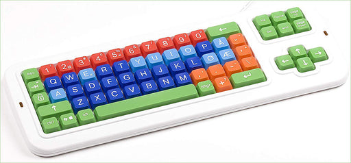 Clevy Color Coded Norwegian CLarge Print solid Spill proof Mechanical Computer Keyboard with Uppercase/Lowercase White Lettering - 102780