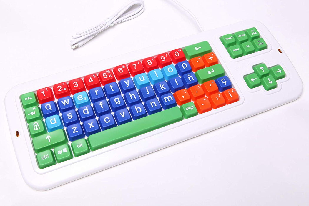 Clevy Color Coded Large Print solid Spill proof Mechanical Spanish Computer Keyboard with Lowercase White Lettering - 102689