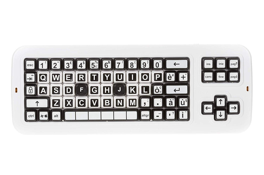 Clevy Italian Large Print solid Spill proof Color Coded Contrast Mechanical Keyboard with Uppercase Lettering - 102692