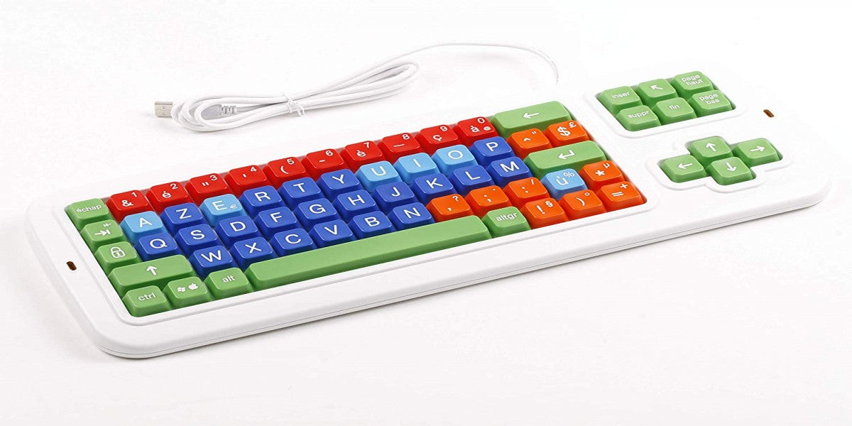 Clevy Color Coded French Computer Keyboard with Uppercase White Letter