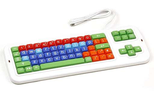 Clevy Color Coded Large Print solid Spill proof Mechanical UK Computer Keyboard with with Lowercase White Lettering - 102691