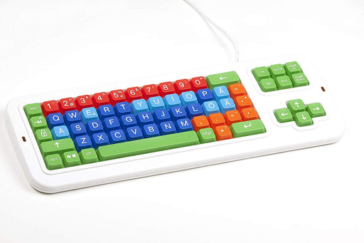 Swedish Color Coded Large Print Mechanical Computer Keyboard Uppercase