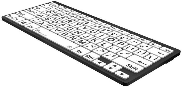 Logickeyboard LargePrint Black on White - PC Bluetooth Mini Keyboard for PC; Part # LKB-LPBW-BTPC-US
