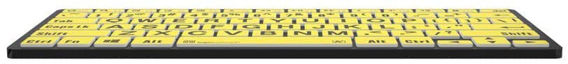 Logickeyboard LargePrint Black on Yellow - PC Bluetooth Mini Keyboard; Part # LKB-LPBY-BTPC-US