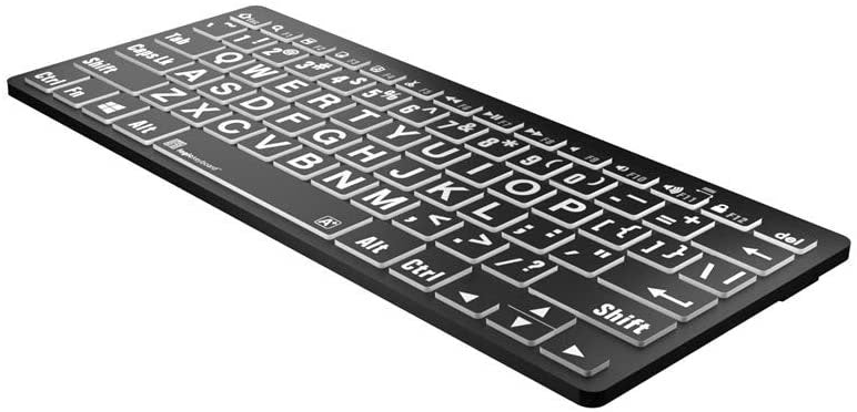 Logickeyboard LargePrint White on Black - PC Bluetooth Mini Keyboard - US English ; Part # LKB-LPWB-BTPC-US