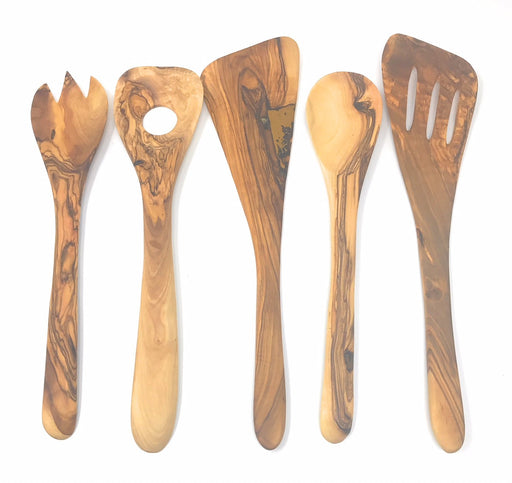 AramediA Wooden Cooking Utensil Olive Wood 5 Piece Set of Spatulas - Spoon, Fork, and Stirrers - Handmade and Hand Carved By Bethlehem Artisans - Approximately 12 inches