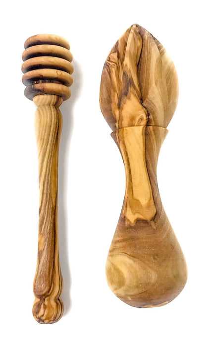 "AramediA Olive Wood - Honey Dipper (Length 6""), and Olive Wood Citrus Lemon, Lime, and Orange Handmade Reamer Juicer Squeezer"