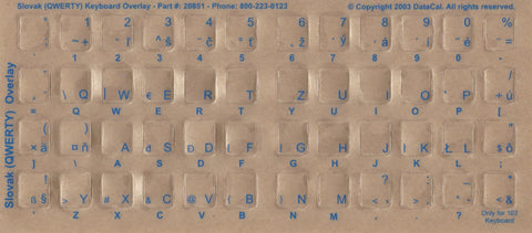 Slovak Keyboard Stickers - Labels - Overlays with Blue Characters for White Computer Keyboard