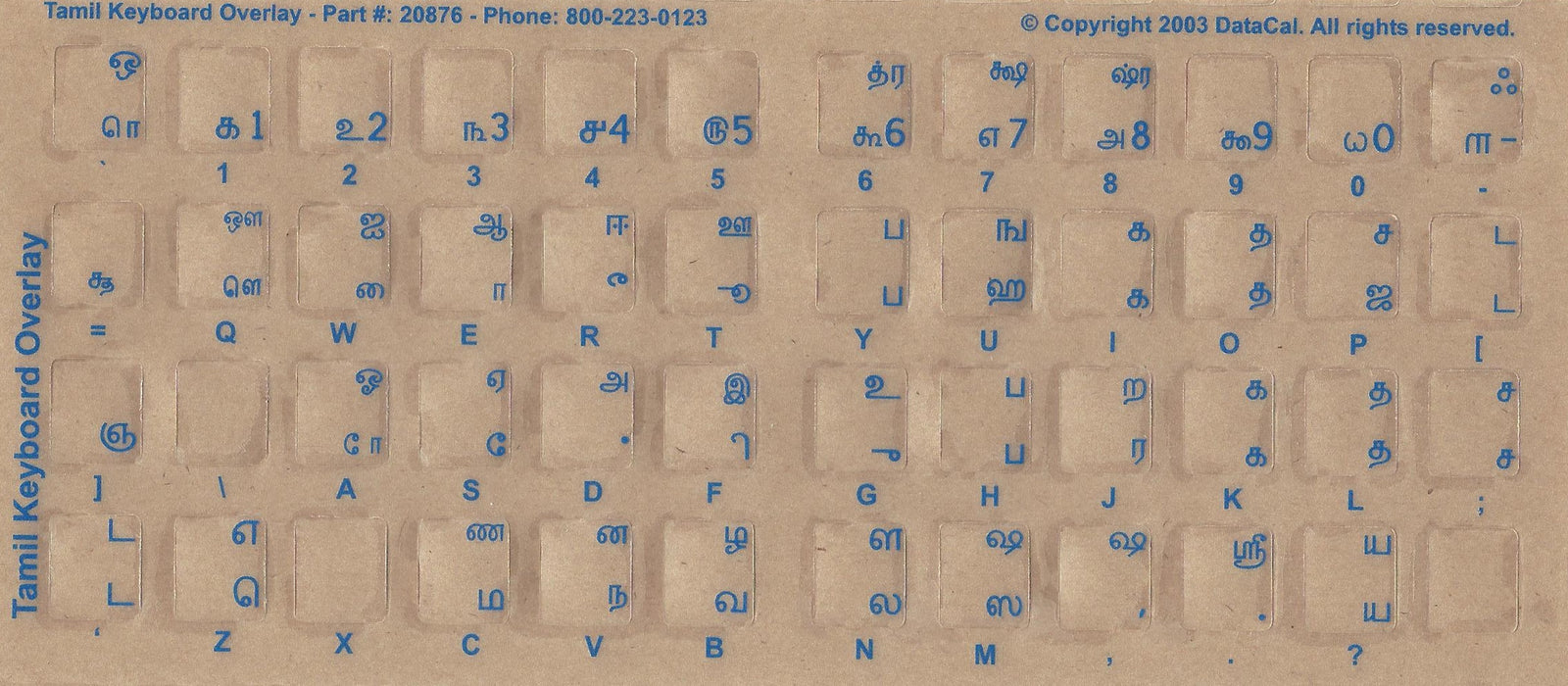 Tamil Keyboard Stickers - Labels - Overlays with Blue Characters