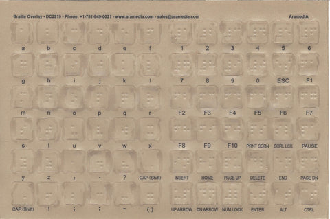 Transparent Braille Computer Keyboard Overlays Stickers (Lexan Material and 3M Adhesive Does Not Slip, Ooze, or Curl) for the Blind and Visually Impaired