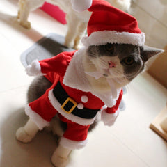Christmas Cat Costume Cute Santa Clothes Outfit