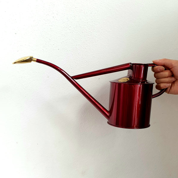 Haws Metal Watering Can with brass rose - Claret