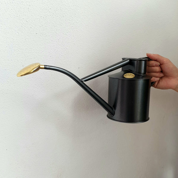 Haws Metal Watering Can with brass rose - Graphite
