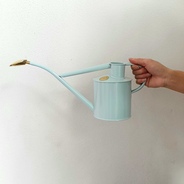 Haws Metal Watering Can with brass rose - Duck Egg