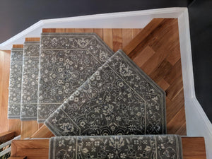 Nourison Persian Empire Grey Wool 30in Stair Runner Custom Install
