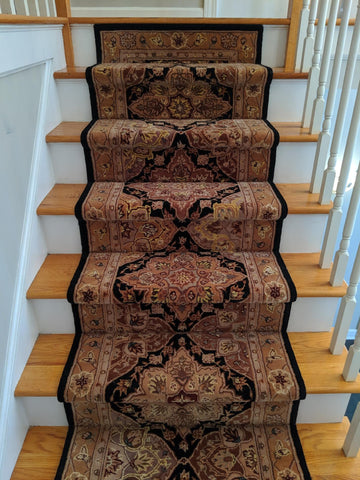Nourison 2000 Black Stair Runner Custom Installation