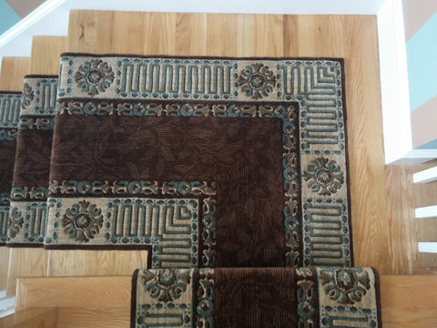 Brown Stair Runner with a Mitered Landing