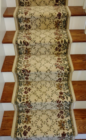 Ancient Garden Floral Ivory Hall and Stair Runner