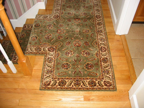 Momeni Persian Garden PG10 Sage 30 inch hall runner with a T Seam and End Cap