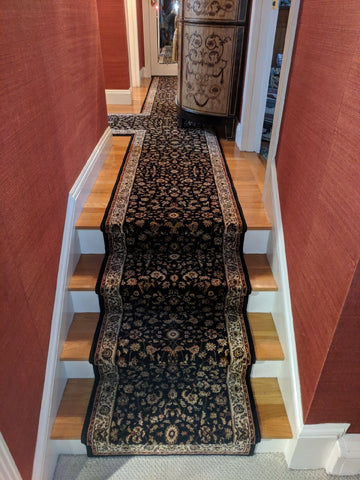 Central Oriental Stair Runner Dimensions Black Stair Runner 4341.81C - 26 - Sold By the Foot