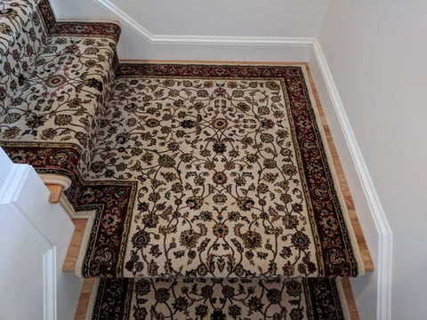 Central Oriental Stair Runners Dimensions Ivory Stair Runner 4341.14C - 33in-Sold By the Foot
