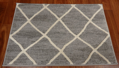 Concord Global Trading Area Rugs 27in x 9in Set of 13 Treads Thema Area Rug and Stair Runner 2972 Ivory Grey Poly Made In Turkey