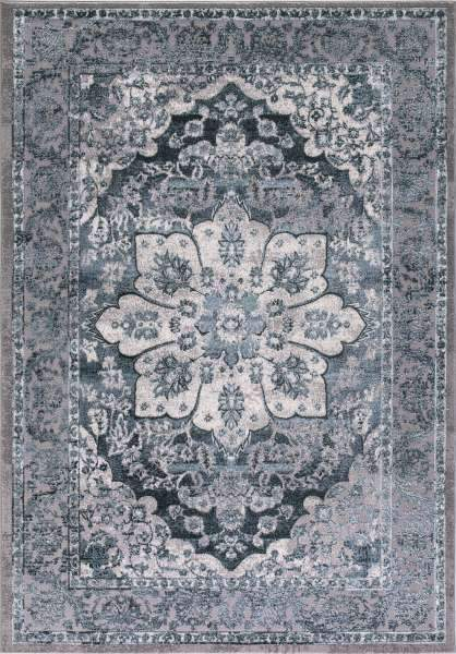Concord Global Trading Area Rugs 3.3 x 4.7 Thema Area Rug Serapi 2916 Teal-Grey Poly Made In Turkey