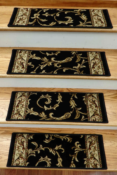 Concord Global Trading Stair Treads Stair Treads Black Jewel 4393 26in x 9in Set of 14 Pcs With Non Slip Pad