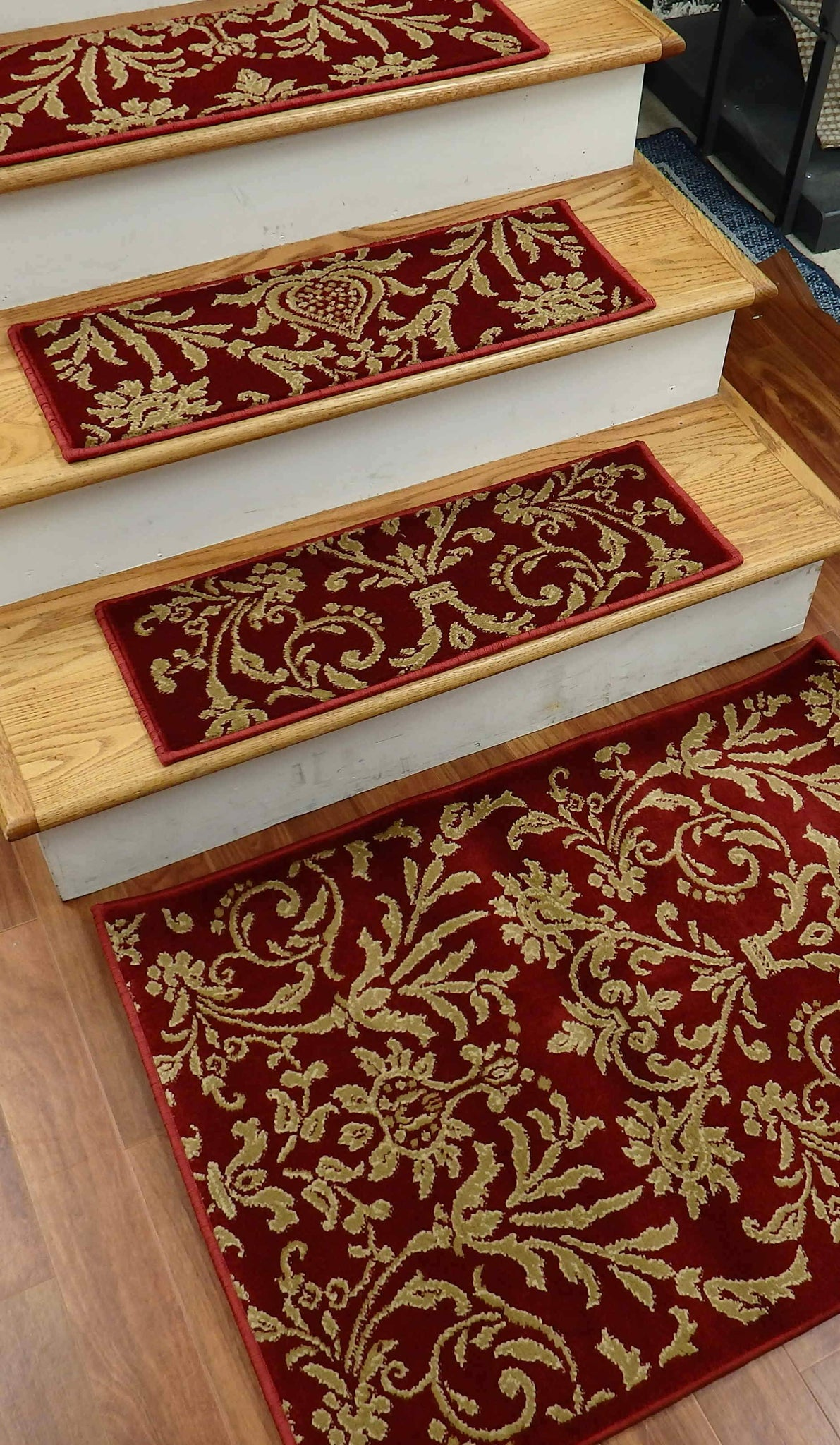 Concord Global Stair Treads Stair Treads Red Jewel  4940 26in x 9in Set of 14 Pcs With Non Slip Pad