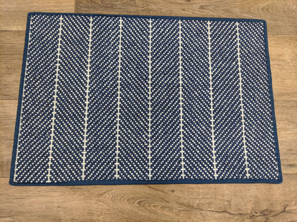 Couristan Stair Runners Addington 6251-0003 Blue Herringbone Wool Assorted Products