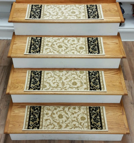 Couristan Stair Treads Stair Treads Ivory 26in x 9in Set of 13 100% Wool Non Slip Pads