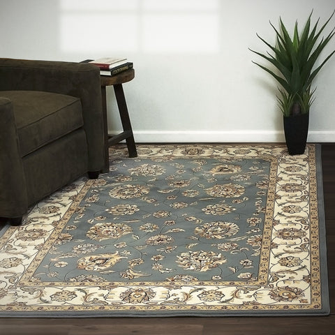 Dynamic Area Rugs Ancient Garden Area Rugs 57365-5464 Lt Blue 100% Poly Belgium 14 Sizes