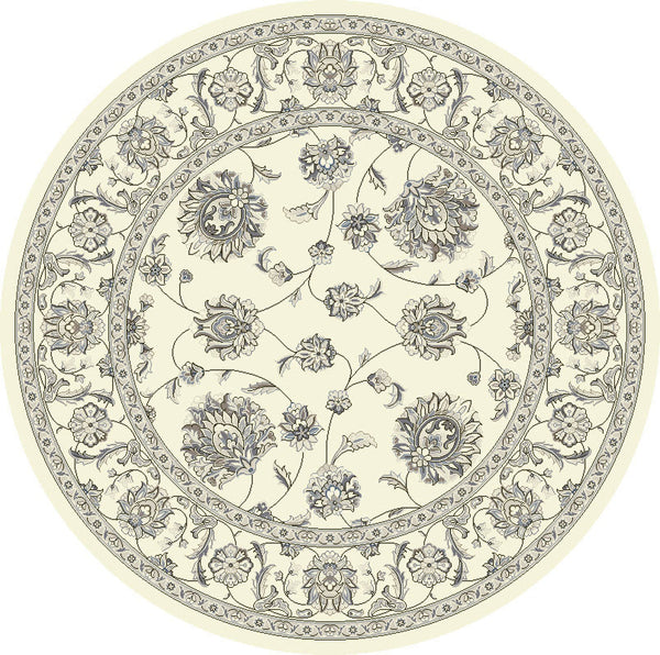 Dynamic Area Rugs Ancient Garden Area Rugs 57365-6666 Ivory-Grey 100% Poly Belgium 14 Sizes