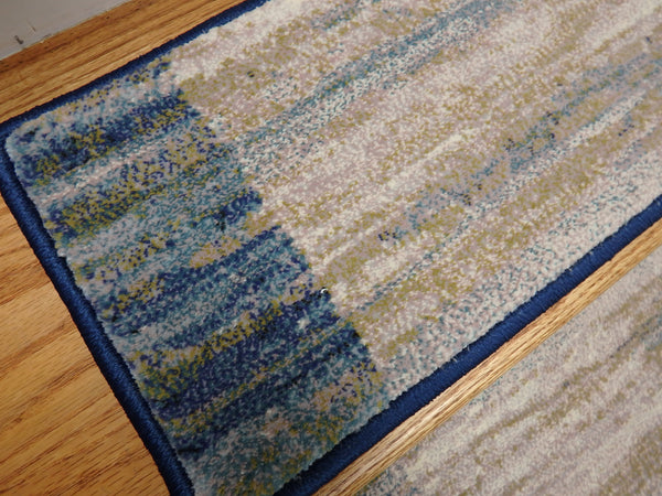 Dynamic Rugs Stair Runners Eclipse Stair Runner 79138-6191 Blue 26 and 31 Inch Roll Runner