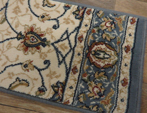 Dynamic Rugs Stair Treads Stair Treads By Dynamic Rugs 57120-5464 Ivory-Blue 26in and 31in By 9in