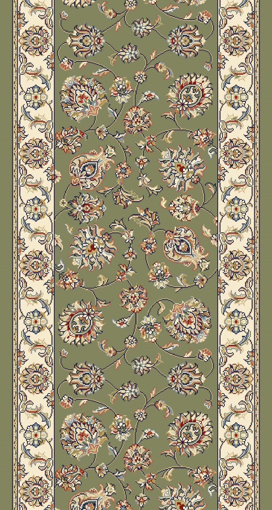 Ancient Garden Green Stair Runner 57365 4464 26 Inch Sold By The Foot