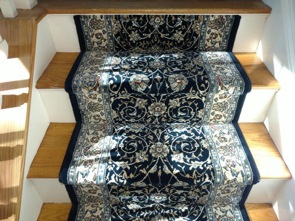 Dynamic Stair Runner Ancient Garden Navy Stair Runner 57120-3464 - 31 inch  Sold By the Foot