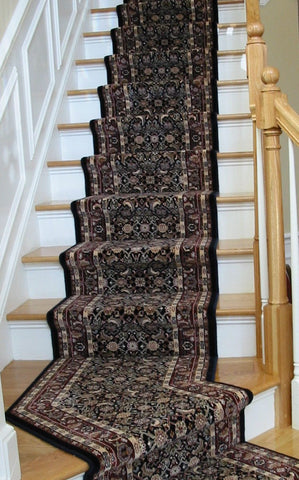 Dynamic Stair Runner Brilliant Herati Navy Stair Runner 72240-520- 26 inch- Sold By the Foot
