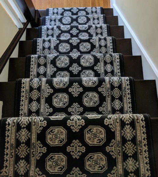 Dynamic Stair Runners Ancient Garden Black Stair Runner 26 In Width Sold By The Foot 57102-3636