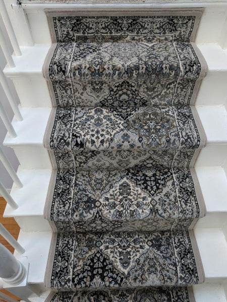 Dynamic Stair Runners Ancient Garden Grey Stair Runner Panel 57008-9696 -26in Sold By the Foot