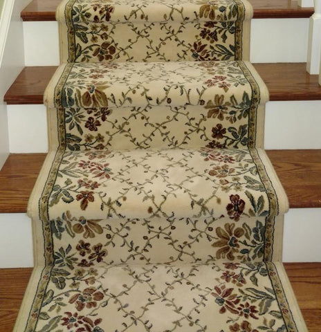 Dynamic Stair Runners Ancient Garden Ivory Stair Runner 57084-6464 - 26 inch Sold By the Foot