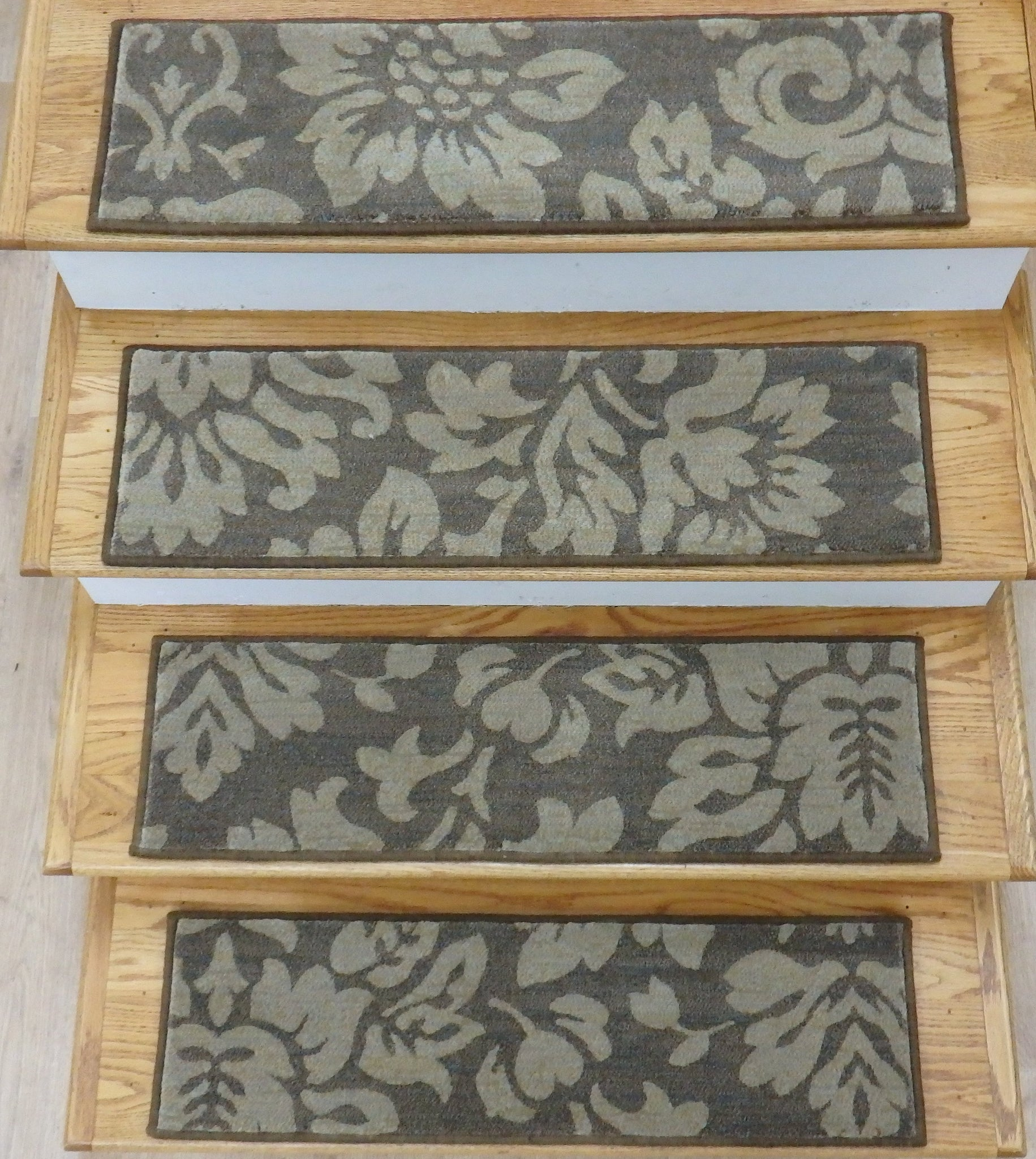 Dynamic Stair Treads Stair Treads Brown 31in x 9in Set of 14Pcs Non Slip Pads Attached