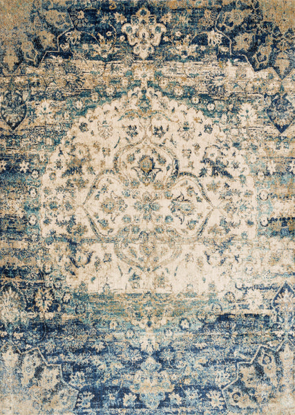 Rectangle loloi area rugs 2.7 x 4 Anastasia Area Rugs By Loloi Rugs AF-06 Blue-Ivory in 15 Sizes